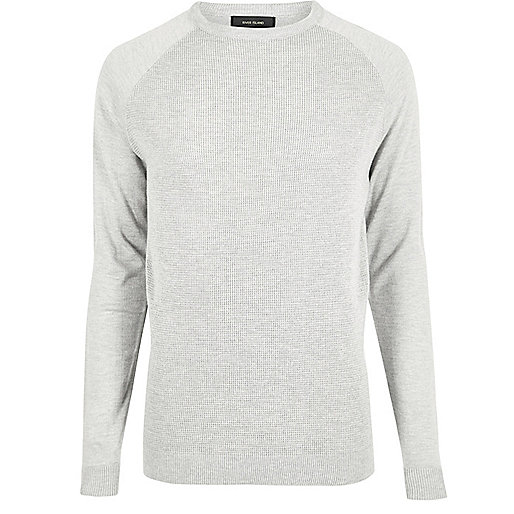 Grey mesh front long sleeve T-shirt