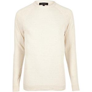 Ecru mesh front sweater