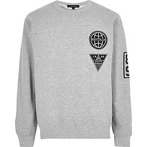Grey Manhattan badge sweatshirt