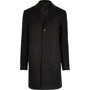 Dark grey check wool blend overcoat