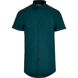 Grünes, kurzärmliges Oxford-Flanellhemd