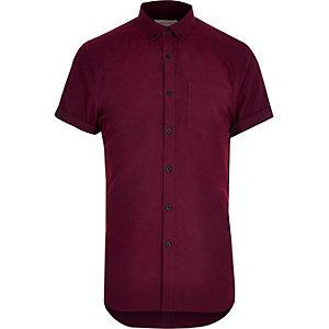 Rotes, kurzärmliges Oxford-Flanellhemd
