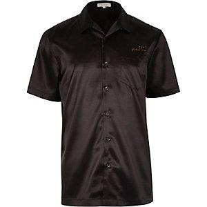 Black satin eagle back short sleeve shirt