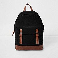 Black corduroy panel backpack