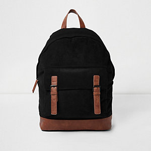 Black corduroy panel backpack