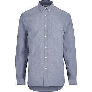 Blaues Oxford-Hemd aus Flanell