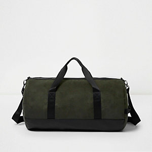 Green faux suede panel holdall bag