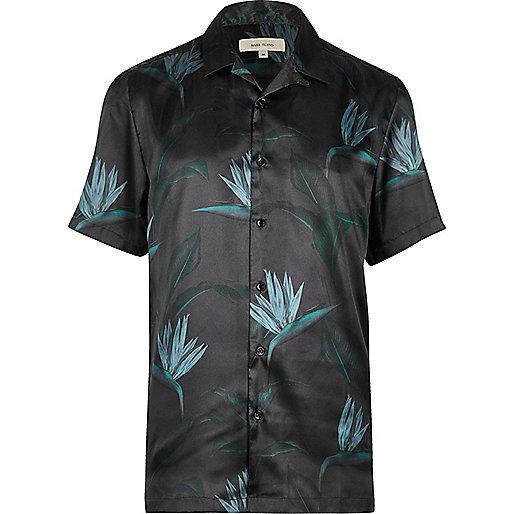 Teal green paradise print shirt