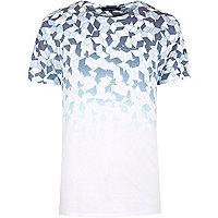 White faded geometric print T-shirt