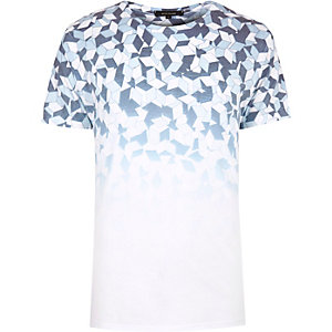 White faded geometric print T-shirt