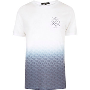 White faded print T-shirt