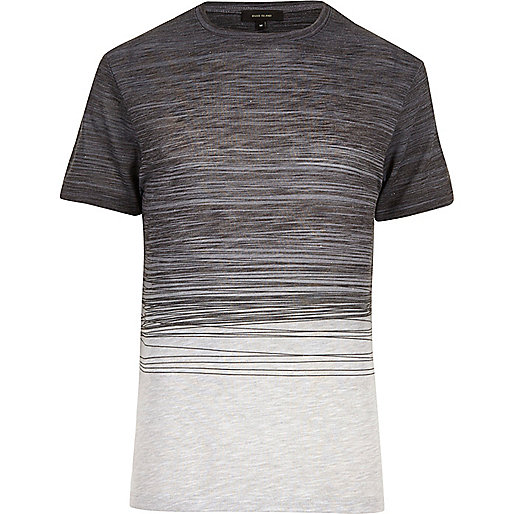 Navy faded scribble print T-shirt