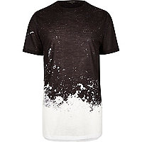 Black splatter print longline T-shirt