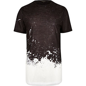 T-shirt long noir imprimé effet peinture