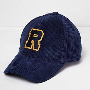 Blue 'R' corduroy cap
