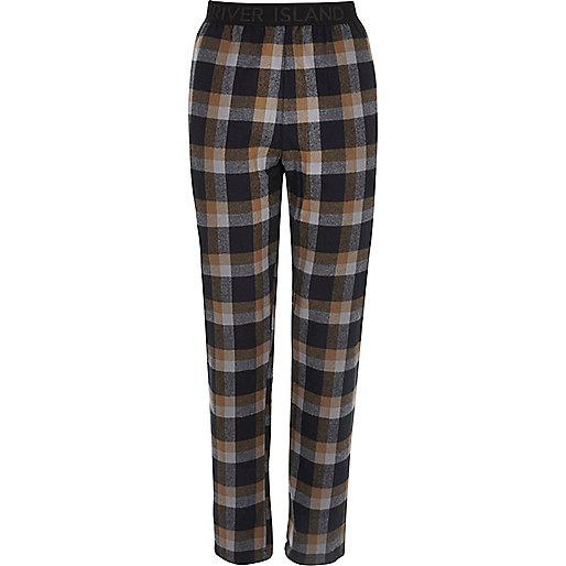 Hellbraune, karierte Pyjama-Hose
