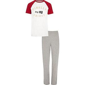 White raglan pyjama set