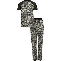 Green camo print pajama set