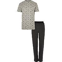 Grey skull print pajama set