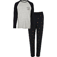 Grey pizza print pajama set