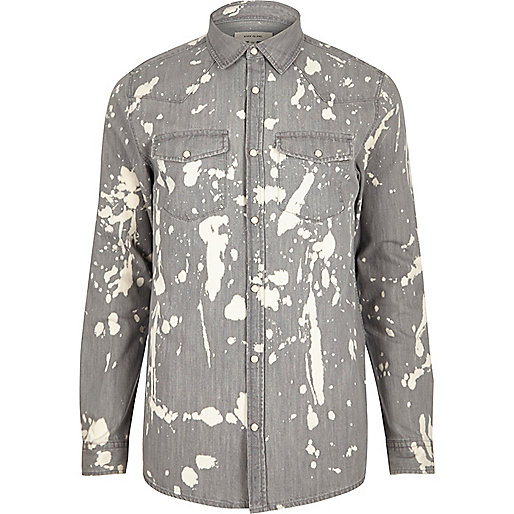 Grey bleach splattered denim shirt