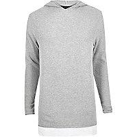 Sweat gris clair long à capuche avec superposition