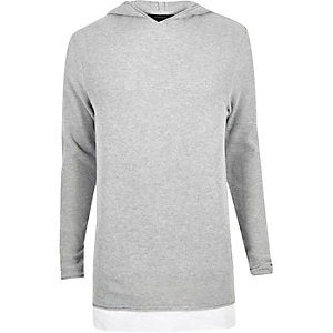 Light grey kayered longline hoodie