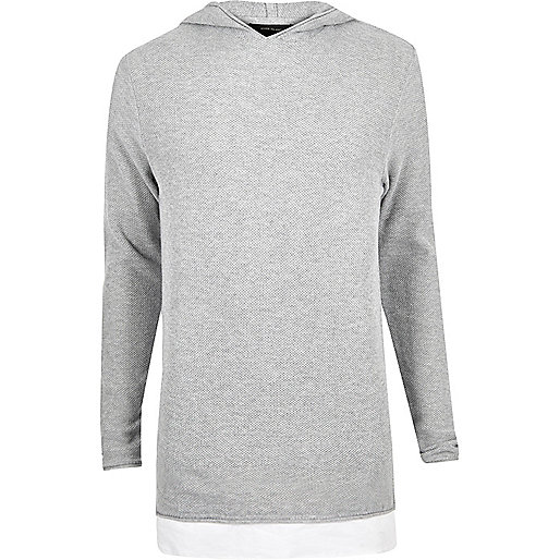 Light grey layered longline hoodie