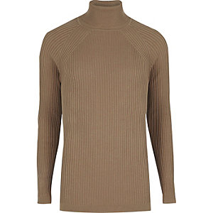 Light brown slim fit roll neck jumper