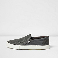 Dark grey textured zip plimsolls