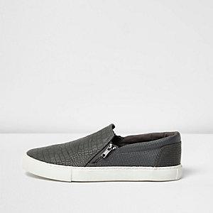 Dark grey textured zip plimsolls
