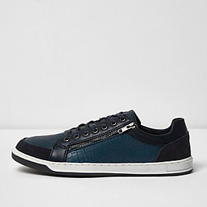 Navy textured panel lace-up trainers