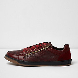 Burgundy textured lace-up trainers