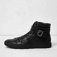 Black buckle strap hi tops