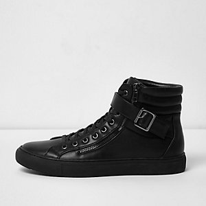 Black buckle strap hi tops
