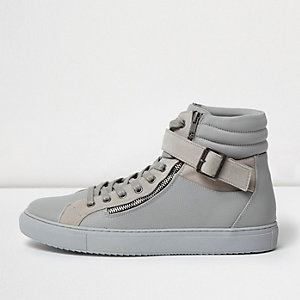 Dark grey buckle strap hi tops