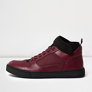 Burgundy strap collar hi tops