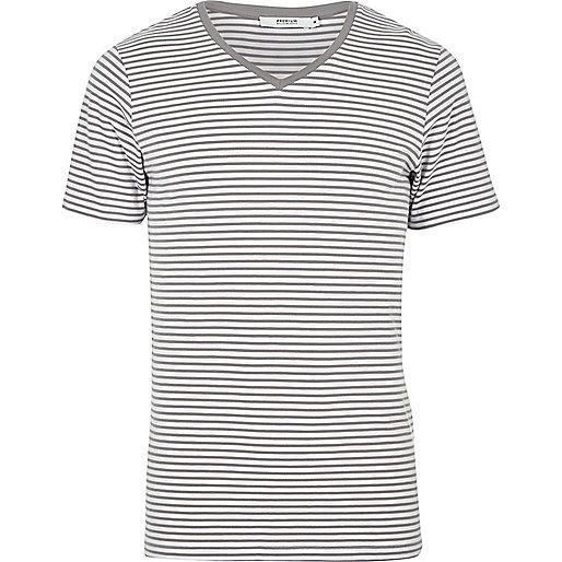 Jack & Jones Premium – Graues, gestreiftes T-Shirt