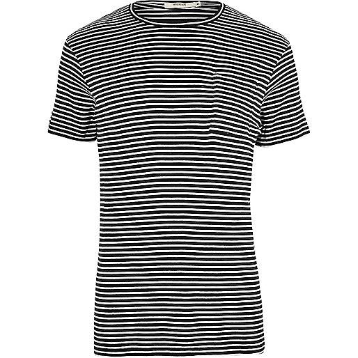 Jack & Jones Premium – Marineblaues, gestreiftes T-Shirt