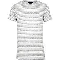 Jack & Jones – Weiß gestreiftes T-Shirt in Slim Fit