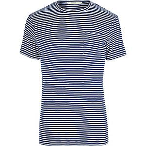 Jack & Jones – Blaues, gestreiftes Slim Fit T-Shirt