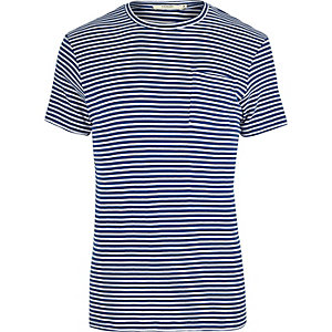 T-shirt Jack & Jones rayé bleu cintré