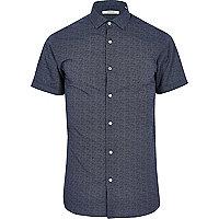 Jack & Jones Premium – Blaues, gemustertes Hemd