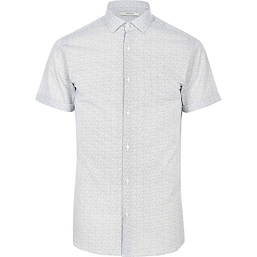 Jack & Jones Premium – Weißes, gemustertes Hemd