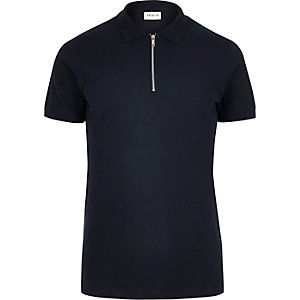 Navy Jack & Jones Premium zip polo shirt