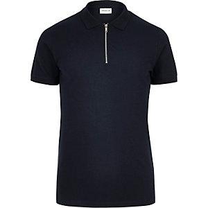 Jack & Jones Premium – Marineblaues Polohemd mit Reißverschluss