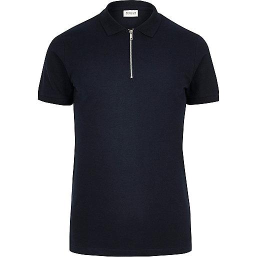 Navy Jack & Jones Premium zip polo shirt