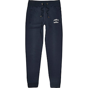 Navy Franklin & Marshall logo joggers