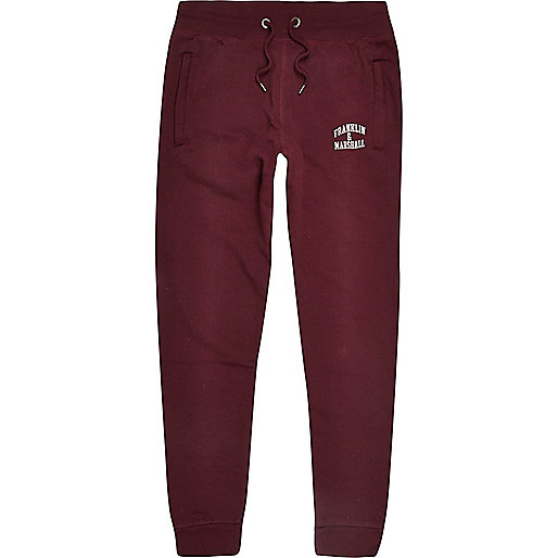 Pantalon de jogging Franklin & Marshall bordeaux à logo