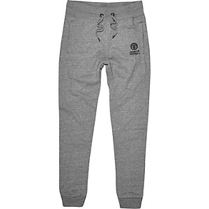 Grey marl Franklin & Marshall logo joggers